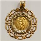 """Our Guardian Angel Protect Us"" Religious 14K Yellow Gold Medallion Pendant"